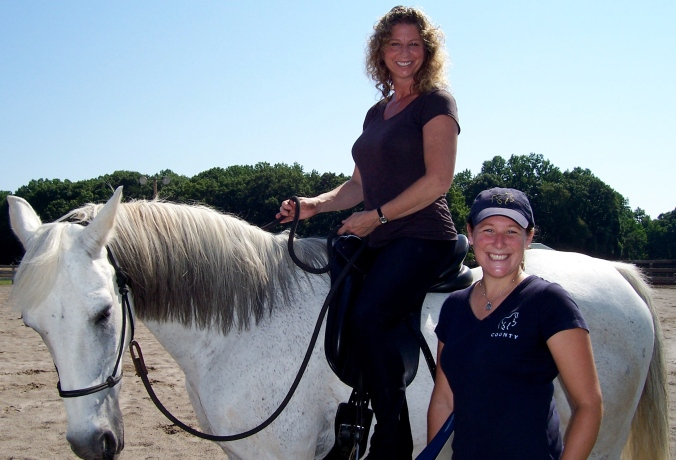 Beth Peters of County Saddlery fits Mystic for a dressage saddle, 2010
