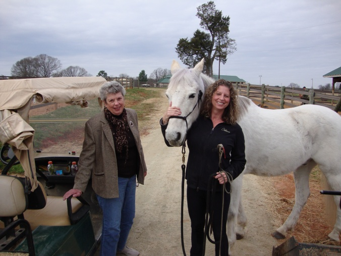 My mother meets my horse, Mystic, in 2011